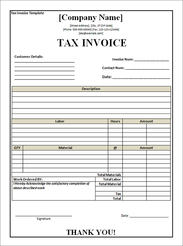 Create Tax Invoice