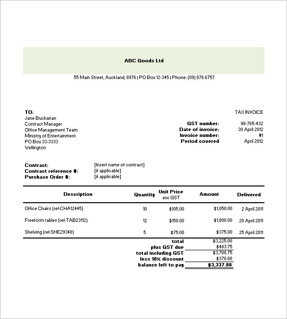 Free Tax Invoice Template Excel Commercial Tax Invoice Template Excel CwIDTW  Free Printable Invoice Templates Download