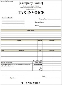 example of tax invoice – notators, Invoice templates
