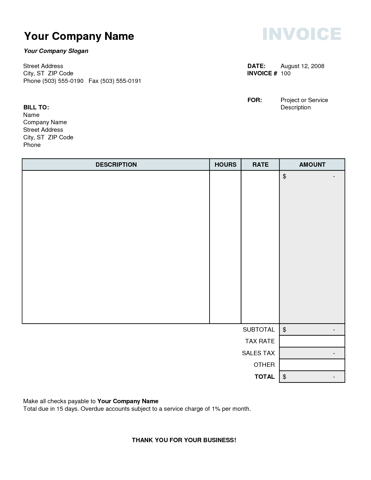 Invoice Template Excel Australia Kevincoynepagetk - Format for invoice for services for service business