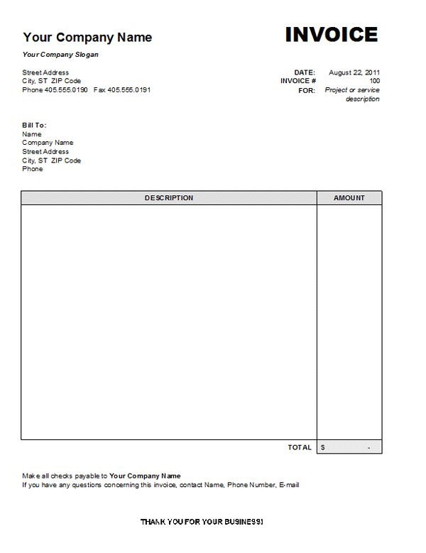 free word invoice template