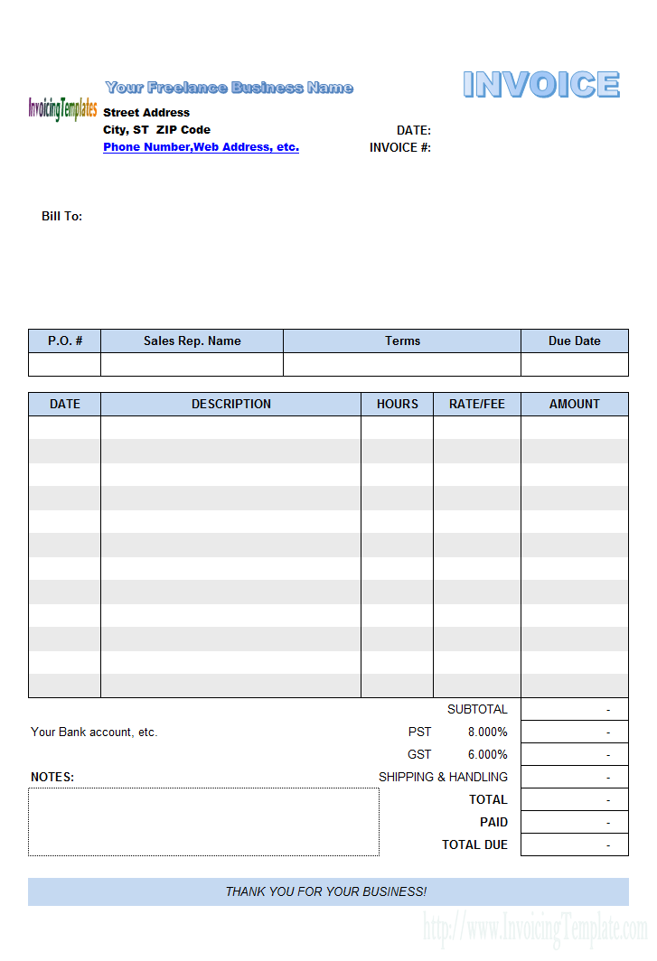 Freelance Invoice Template.