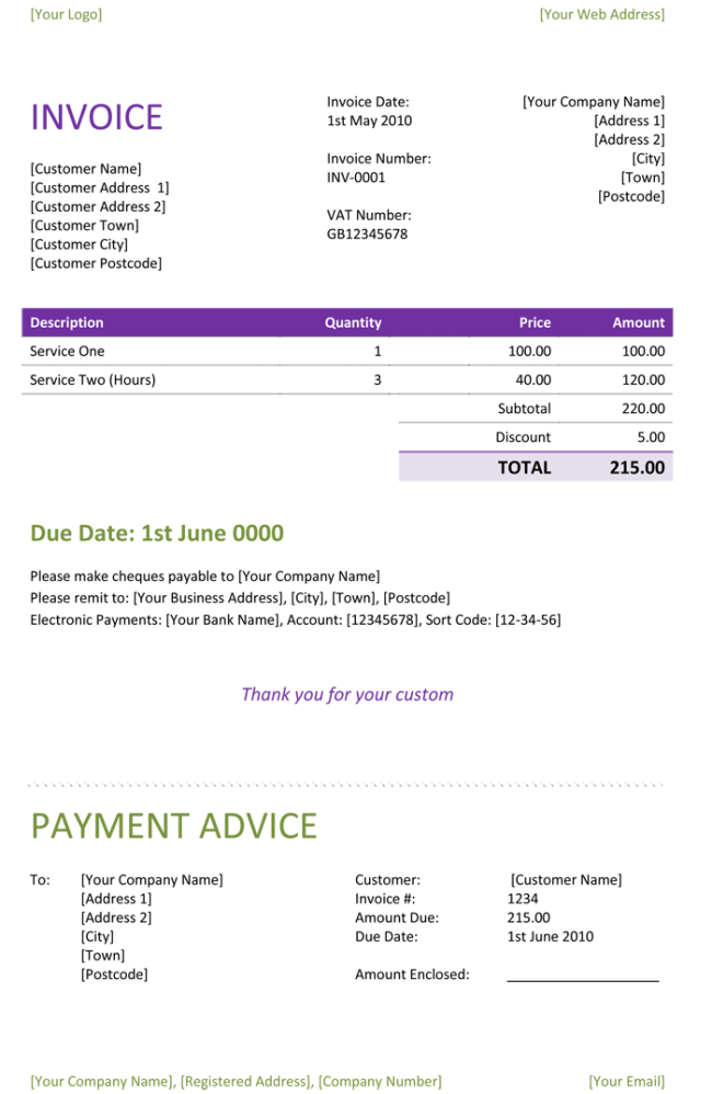 Freelance Invoice Template Word Invoice Example - Download free invoice template for word
