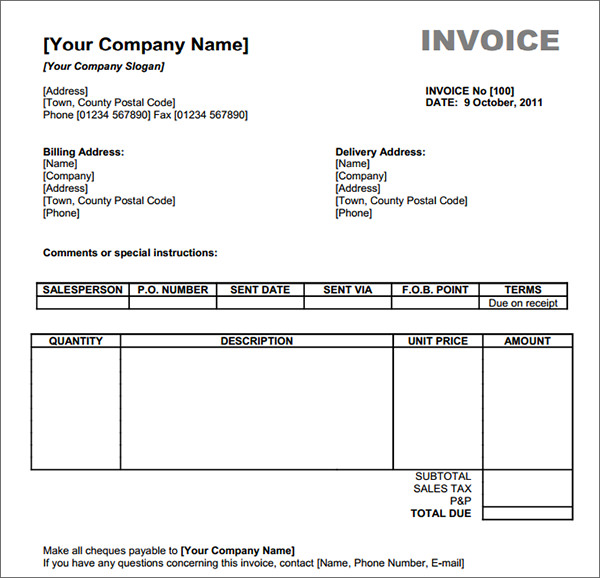 generic invoice template free download mechanic invoice template