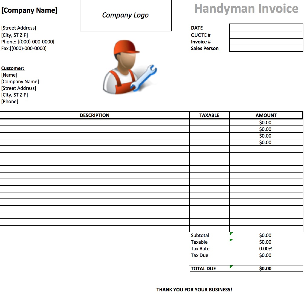 14 Practiced Handyman Invoice Templates Demplates