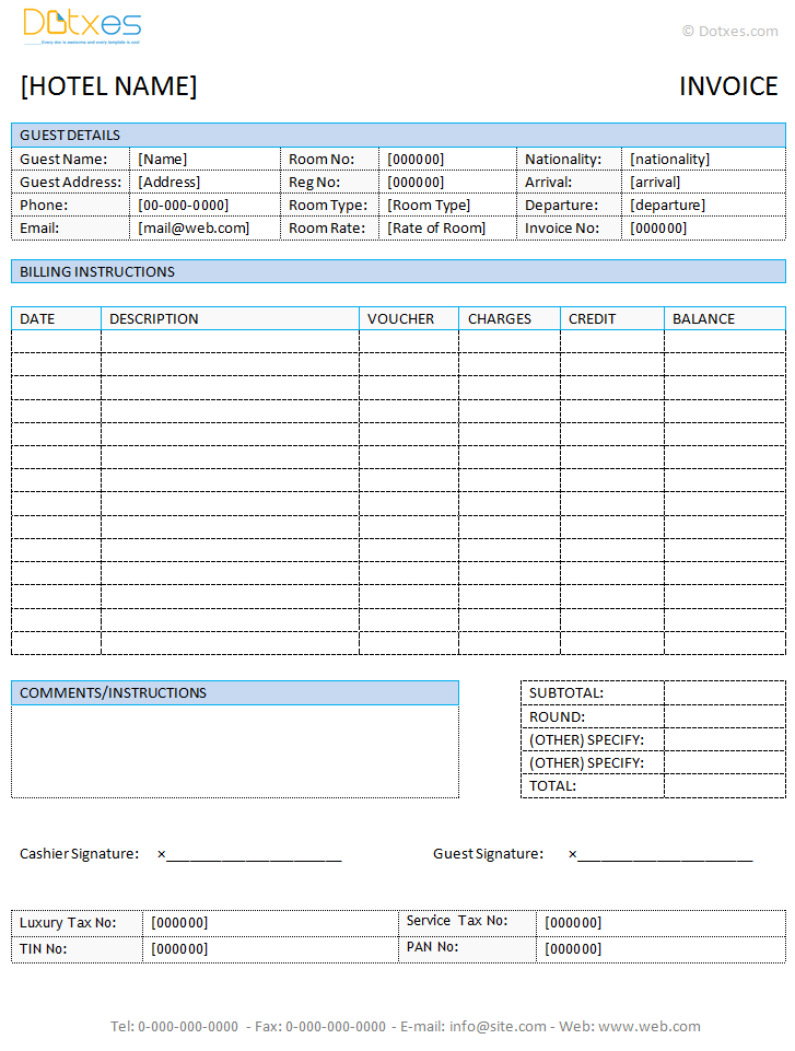 Hotel Invoice Template Doc Invoice Example