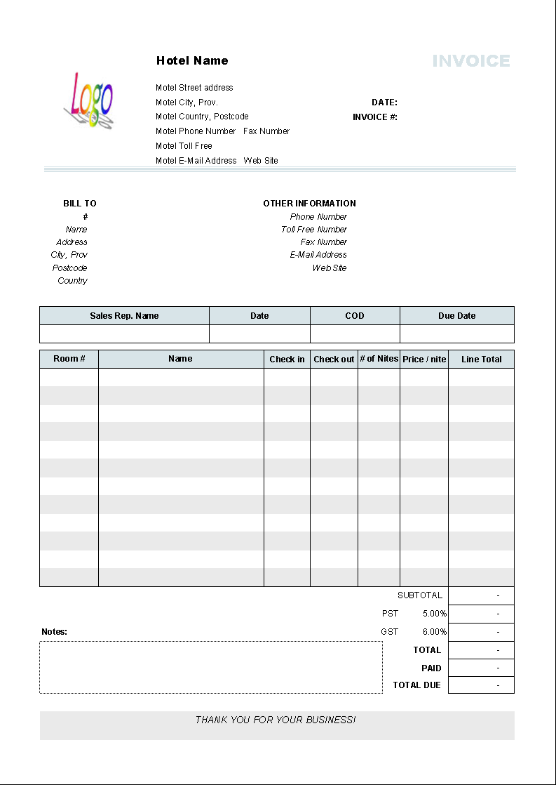 Hotel Invoice Template Uniform Invoice Software