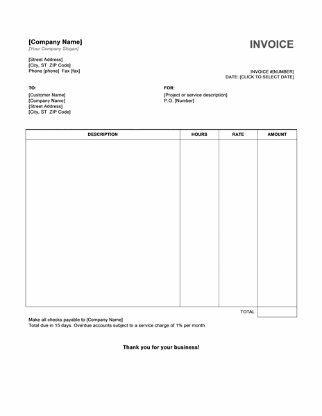 Hourly Service Invoice Template | Free Invoice Templates