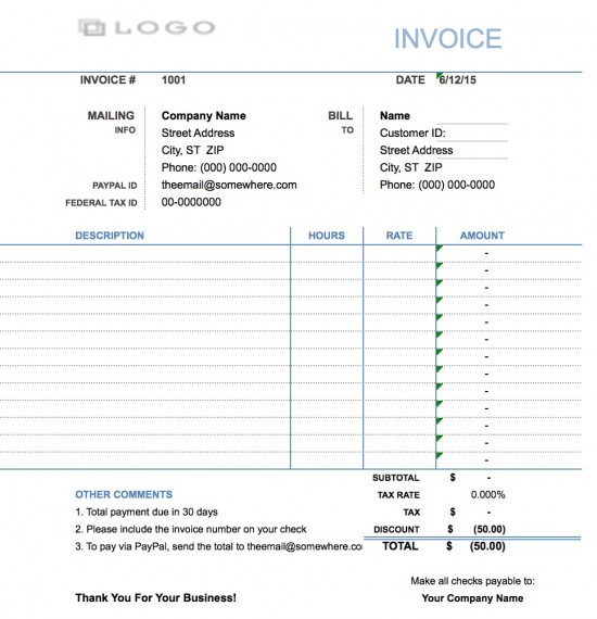 Free Hourly Invoice Template Invoice Template 2017