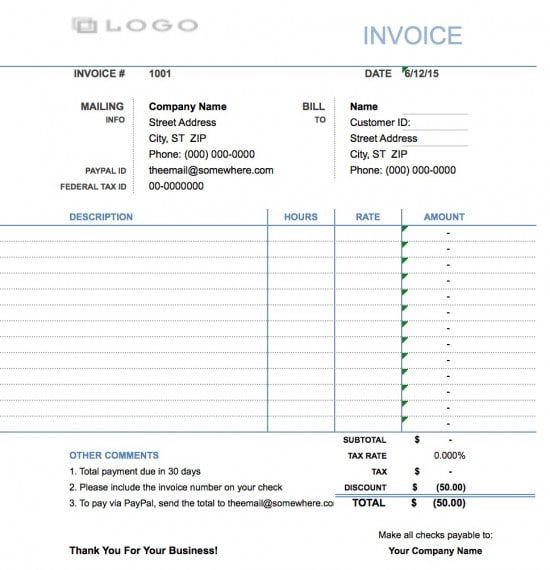 Hourly Service Billing Sample