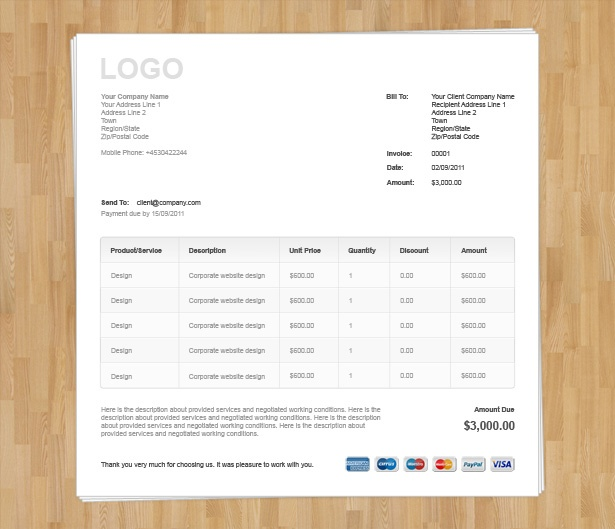 Html Invoice Template Free Download  Invoice Example