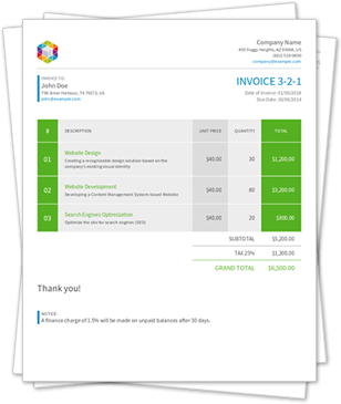 HTML PDF API Free HTML to PDF Invoice templates