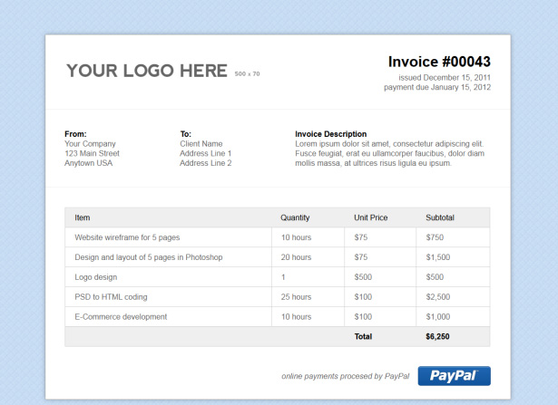 Html Invoice Template Free ⋆ Invoice Template