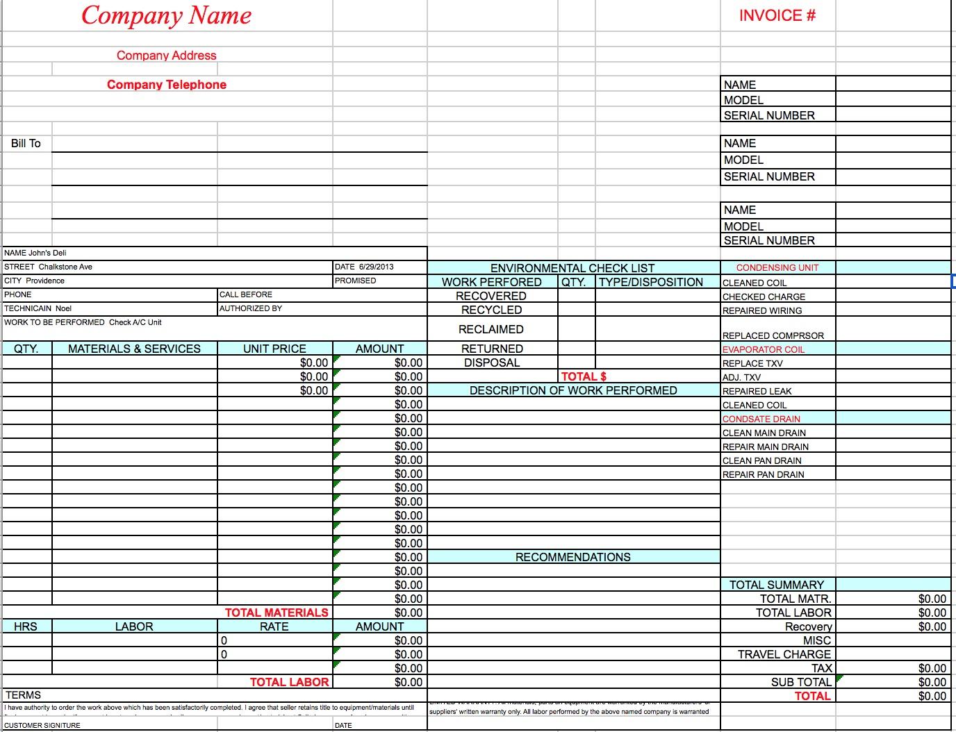 Hvac Invoice Template | printable invoice template