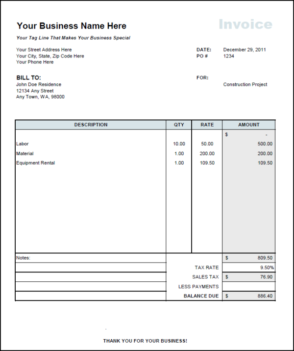 Independent Contractor Invoice Template Excel Invoice Example - Construction invoice form free for service business