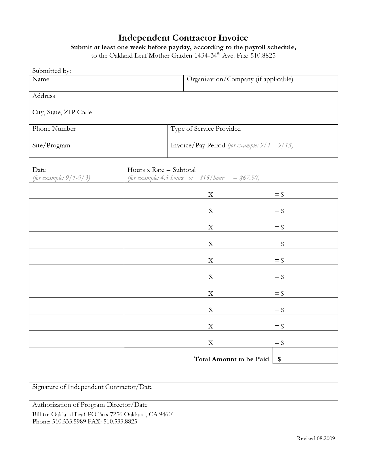 Independent Contractor Invoice Template Free Invoice Example - Free invoice template : independent contractor invoice template