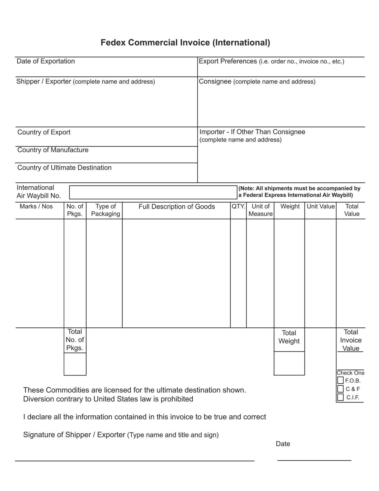 International Commercial Invoice Template – Comercial Invoice Template