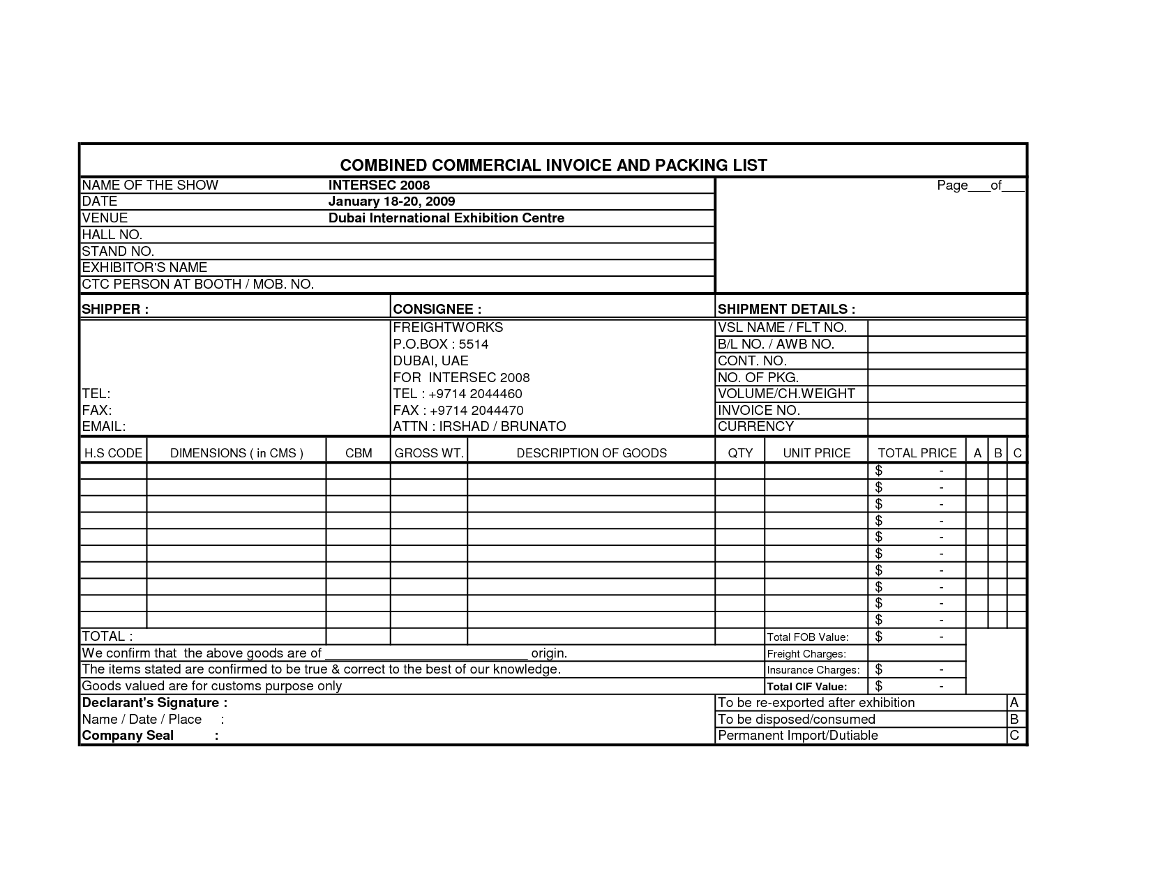 International Commercial Invoice Template – Commercial Invoice Forms