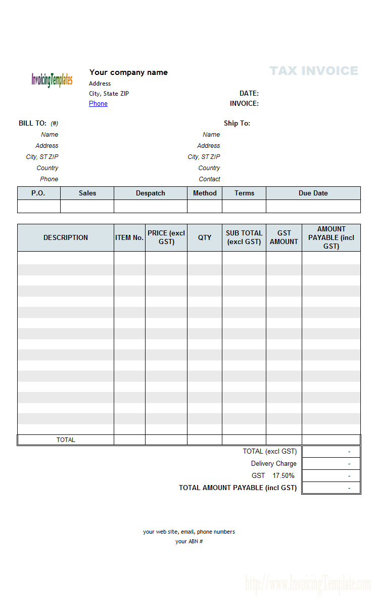 Abn Invoice Template | printable invoice template