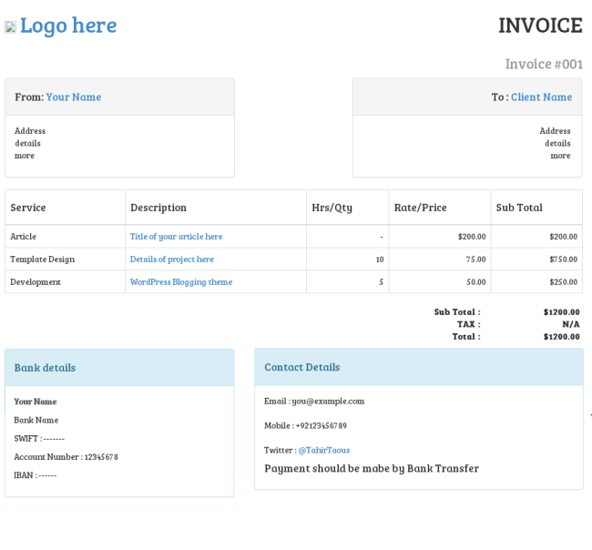 Invoice template bootstrap invoice example for Bootstrap popover custom template