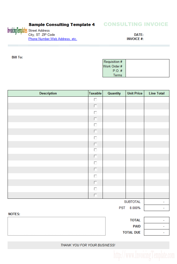 Excel based Consulting Invoice Template Excel Invoice Manager