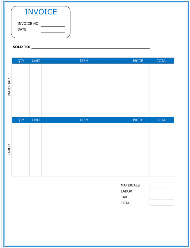 Invoice Template Contractor | printable invoice template