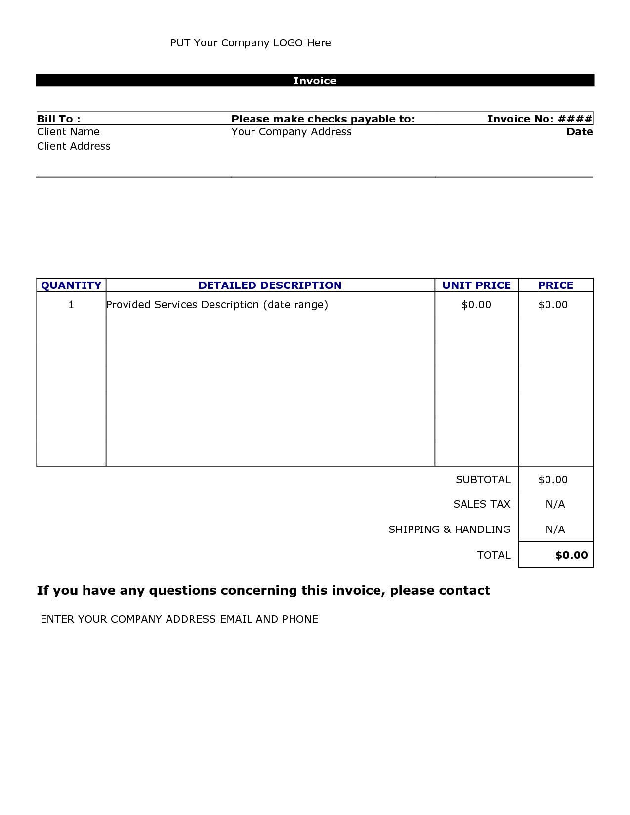 Doc.#600780: Invoice Template for Services Provided – sample of