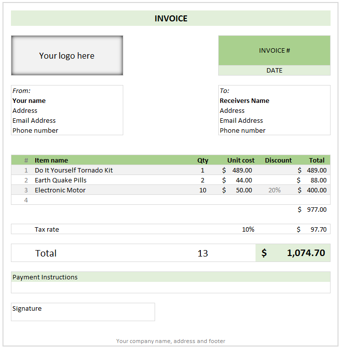 invoice template excel 2013