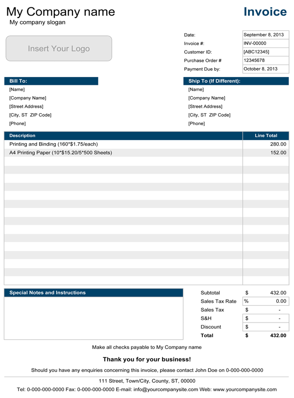 invoice template excel 2013 invoice example