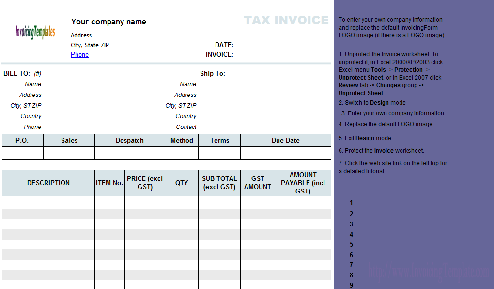 Lovely Invoice Template Excel Australia Pertaining To Invoice Template Excel Australia