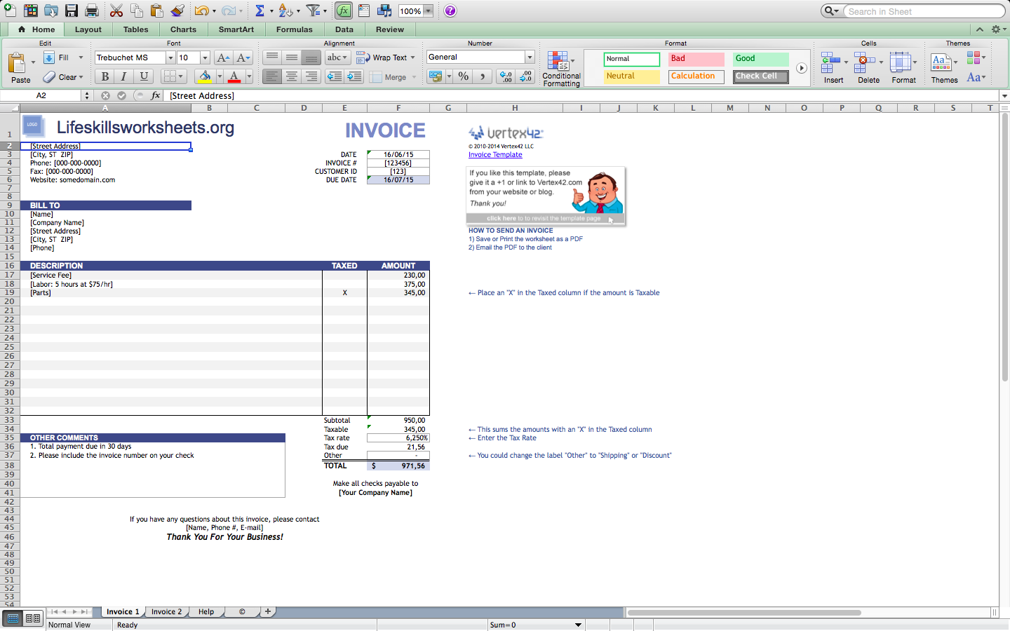Free invoice templates for excel, mac | BlankInvoice.org