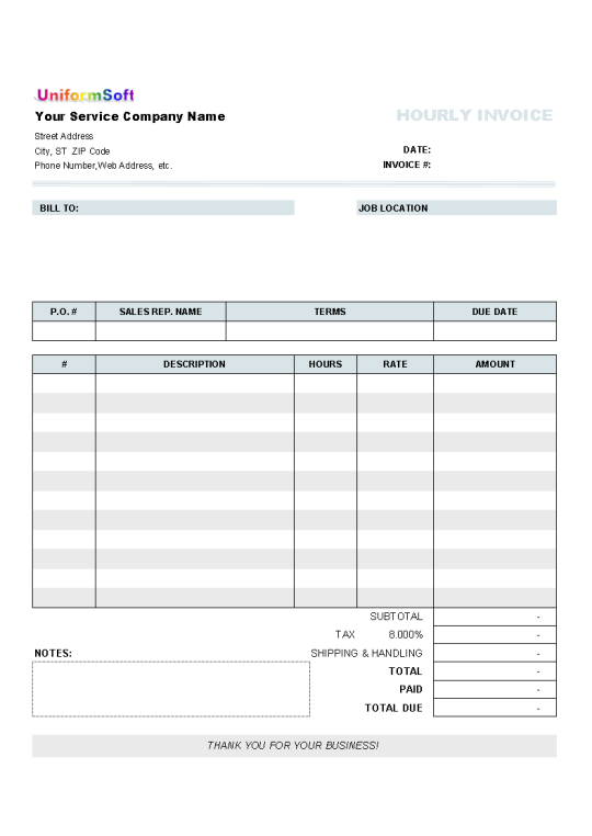 Invoice with Hours and Rate Free