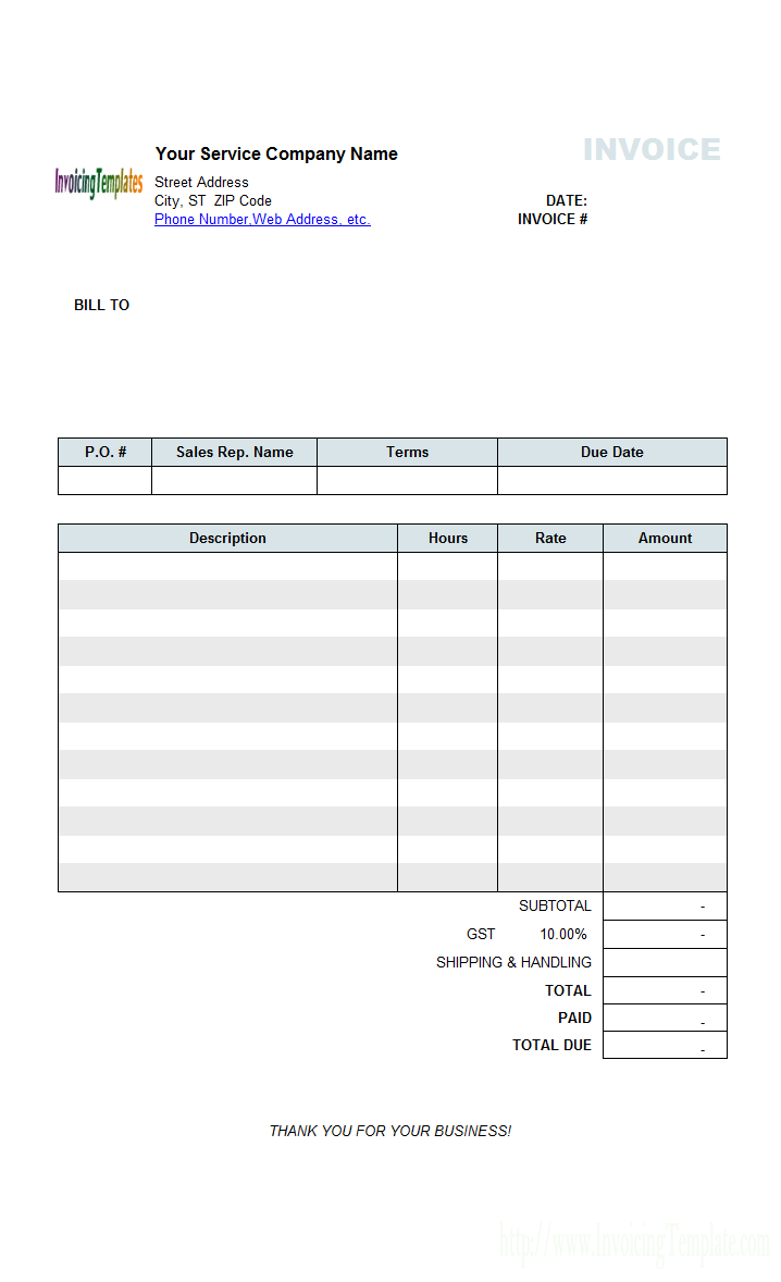 invoice template for hours worked