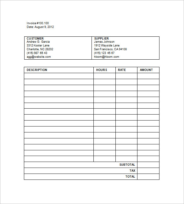 Invoice For Hours Worked Template Free Invoice Template 2017