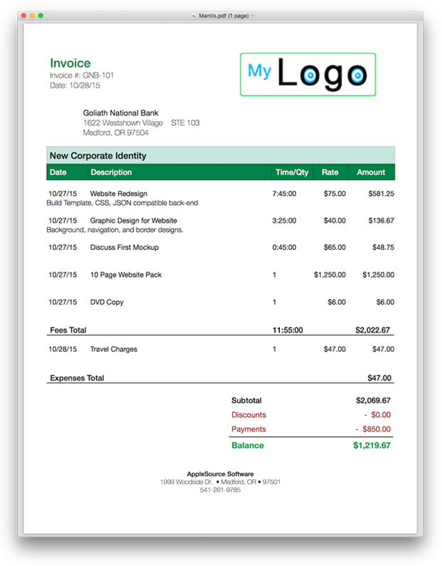 Invoice Template Html Code  Software Invoice Template