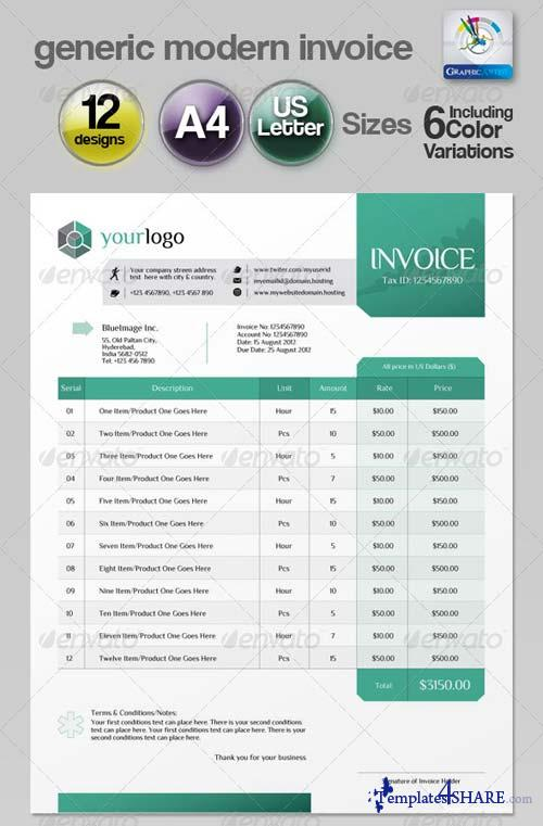 Invoice Template Illustrator Letter Template Business