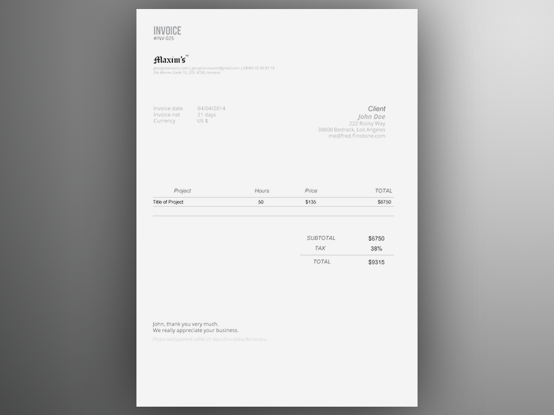 Invoice Template AI | Freebie by Georgian Sorin Maxim Dribbble