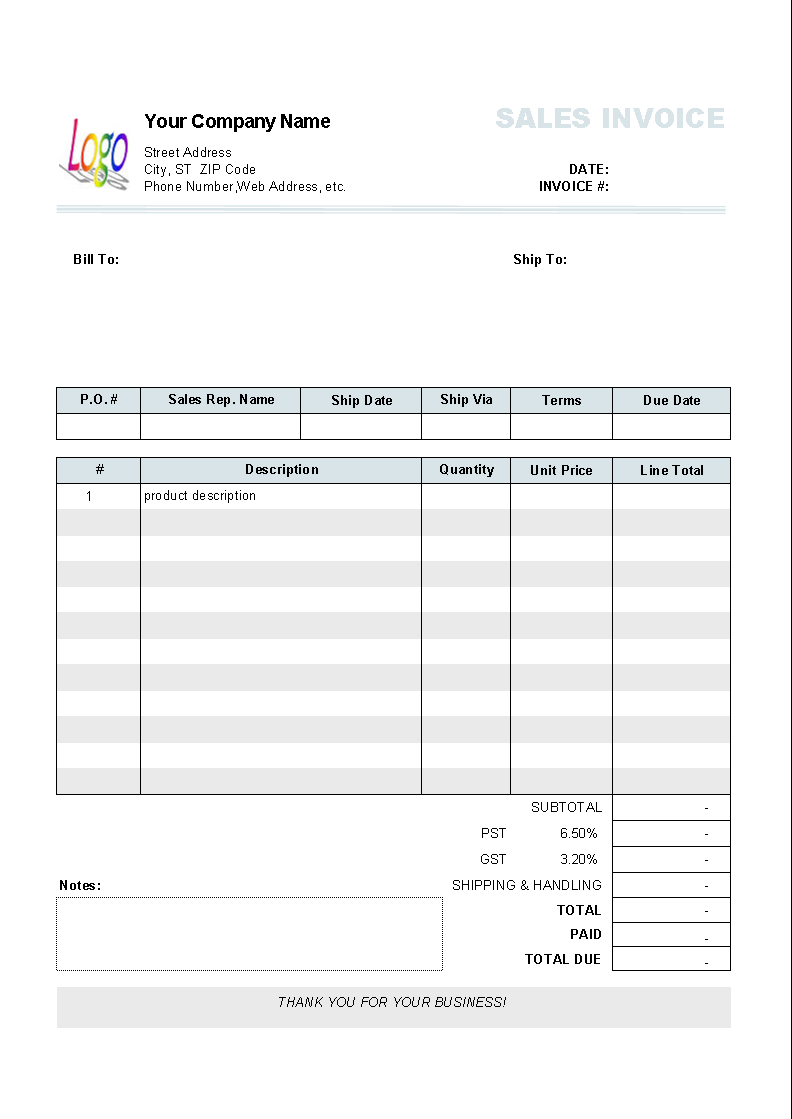 Basic Numbers Invoice Template Free iWork Templates