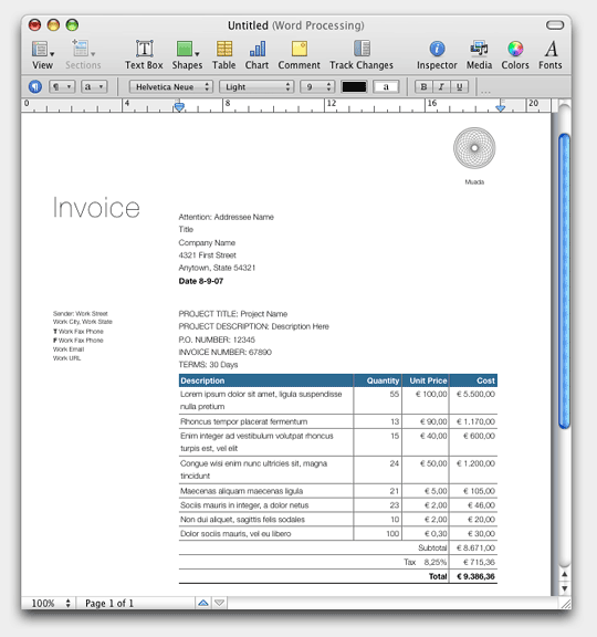 Invoice Template Pages Ontslagbrief