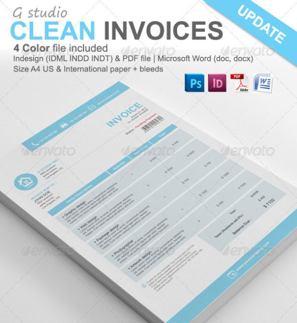 38+ Invoice Templates PSD DOCX INDD Free Download | PSDTemplatesBlog