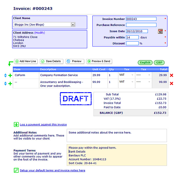 invoice template uk limited company | invoice example, Invoice templates