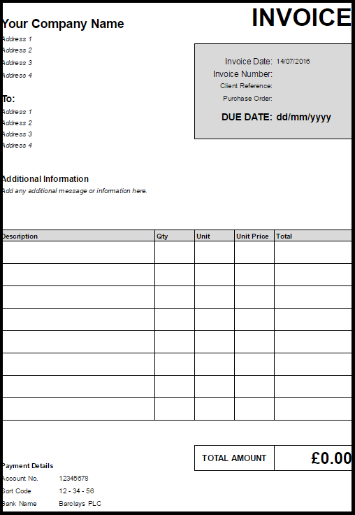 invoice template uk limited company | invoice example, Simple invoice