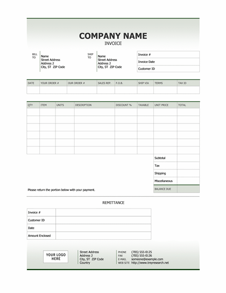 sample invoice word