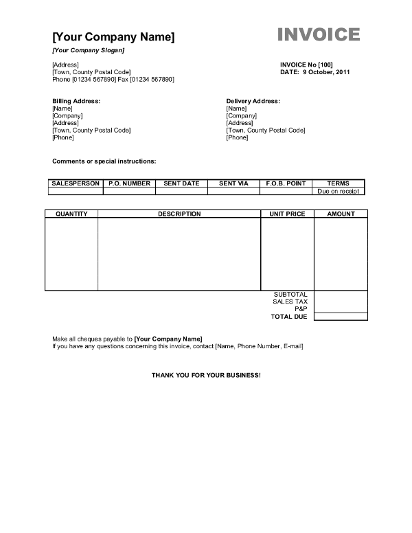free sample invoice template word