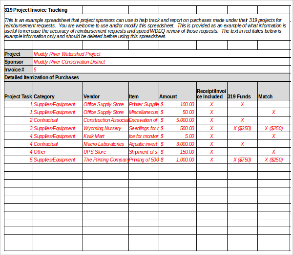 Invoice tracking template excel invoice example for Excel shipping tracking template