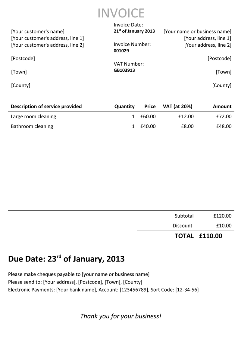 Invoice Uk Template – Construction Invoice Template