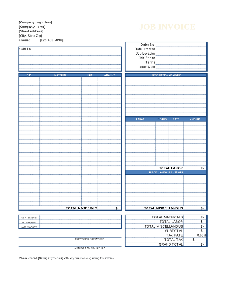 Blank Work Invoice Template Invoice Template 2017