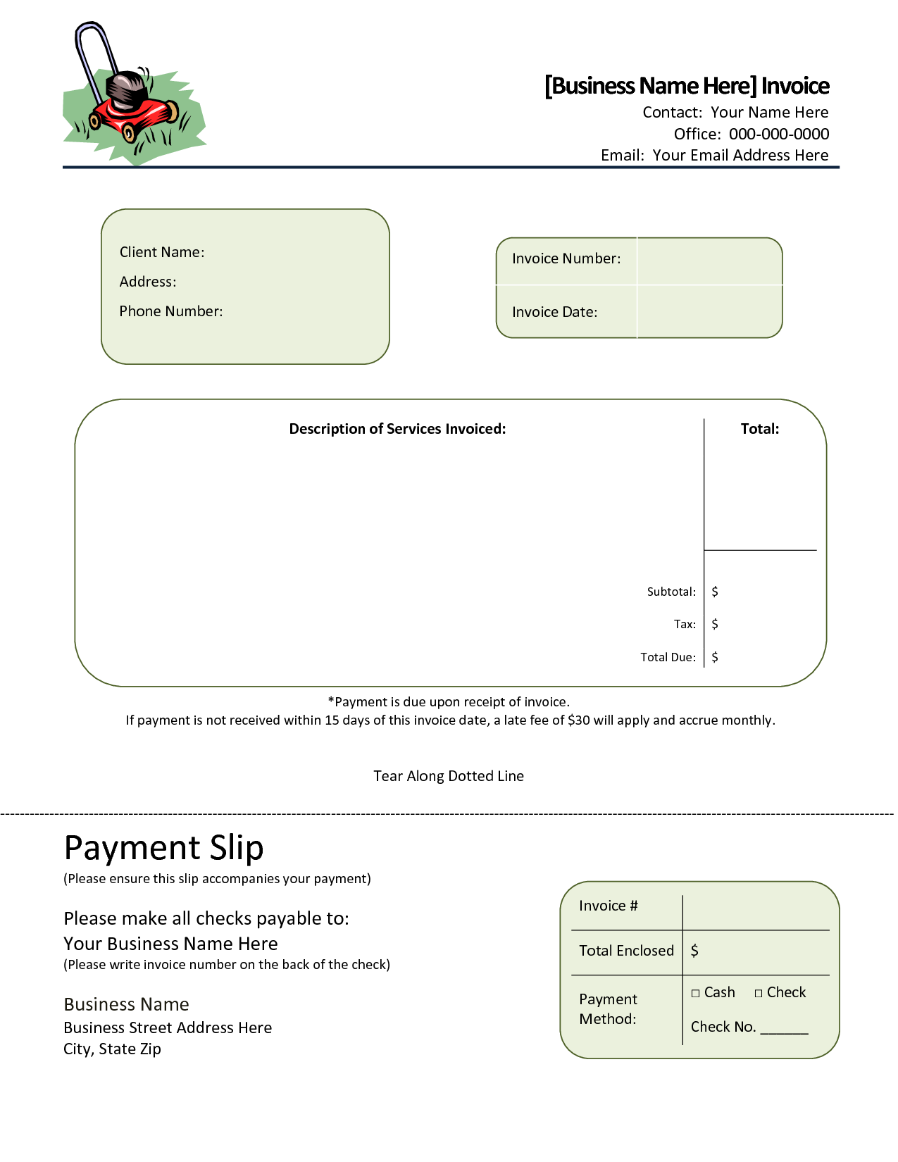 simple landscaping invoice – notators, Invoice templates
