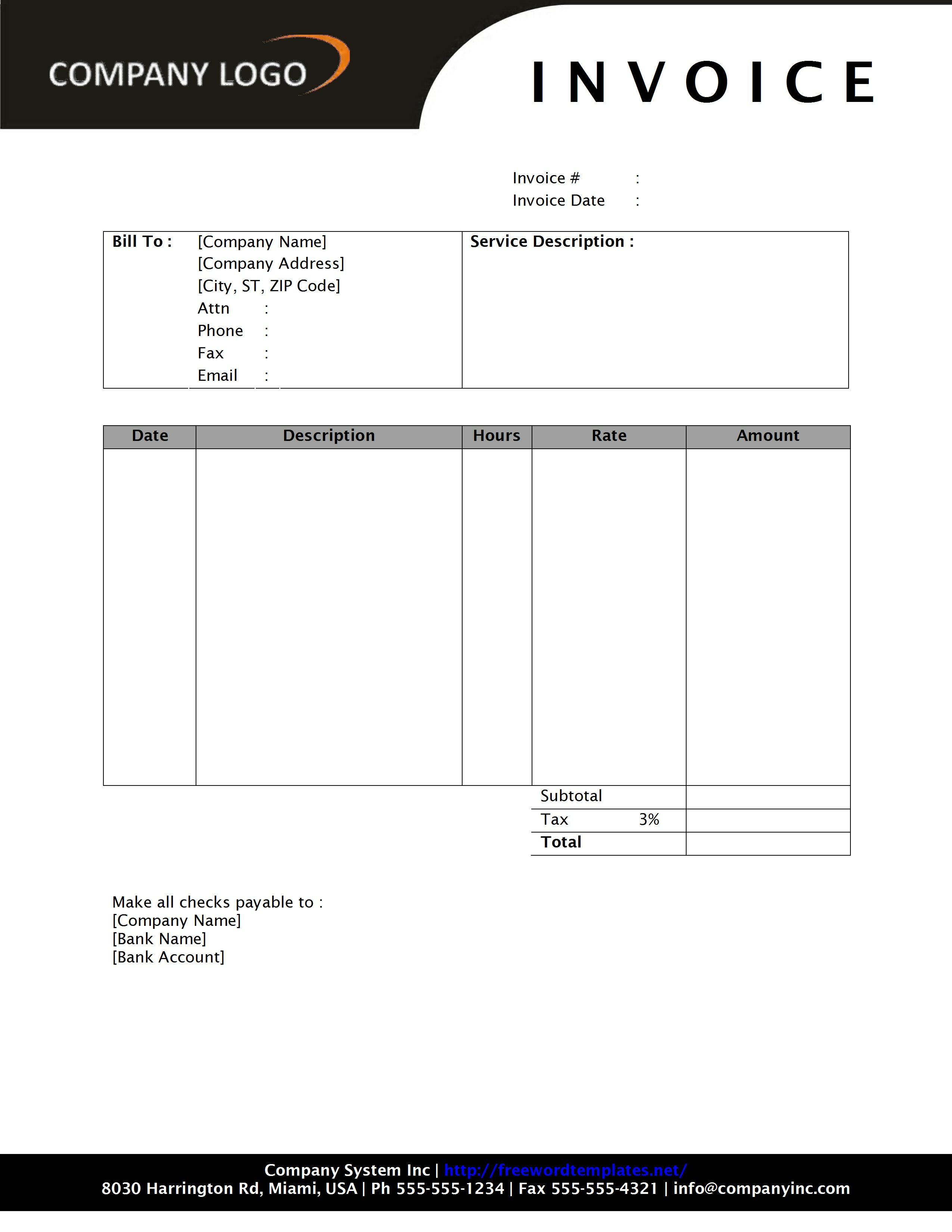 service invoice templates word