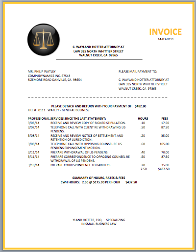 Attractive Legal Invoice Template On Attorney Invoice Template